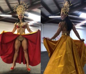 Competition theme wear wbff posing